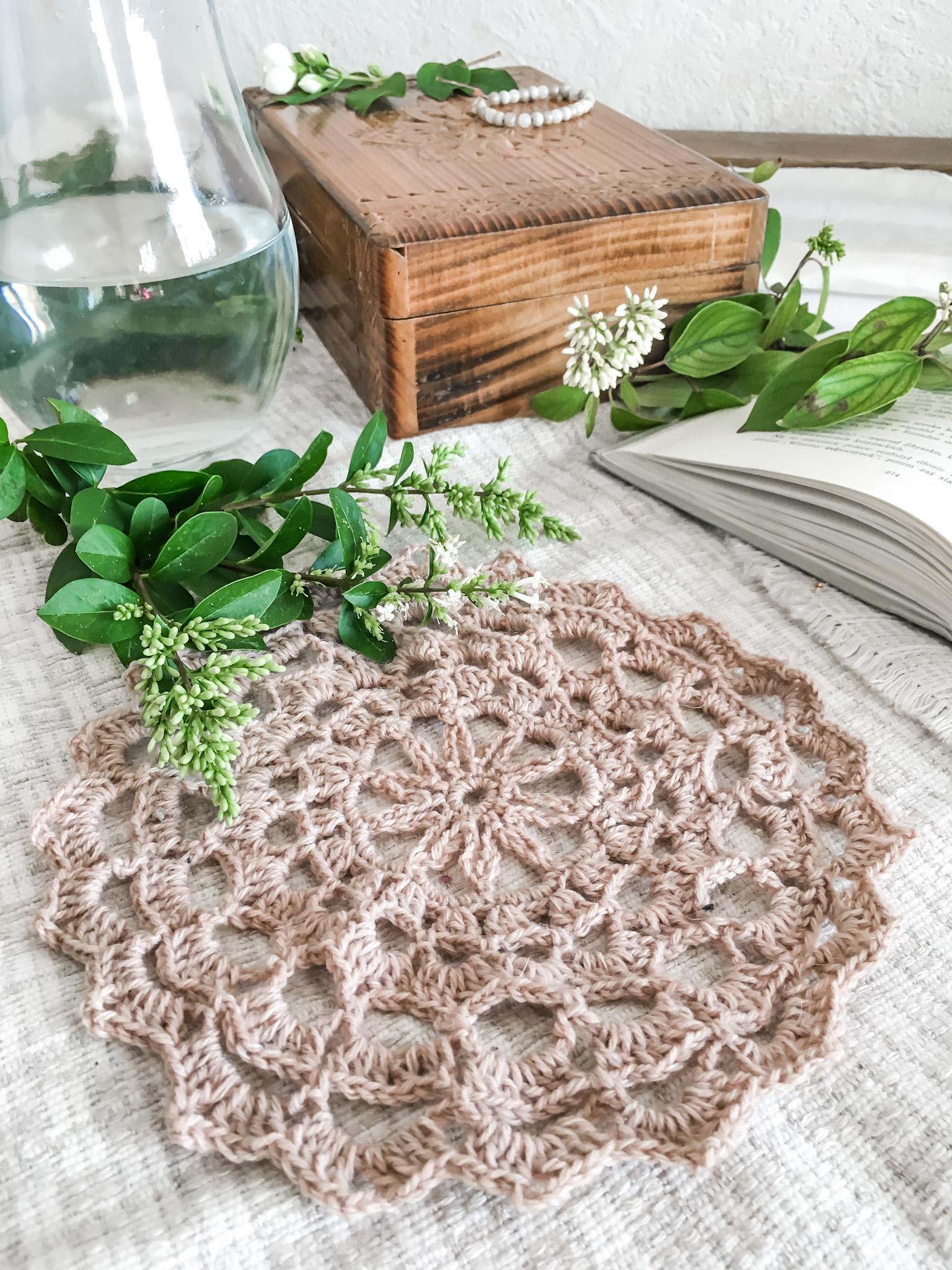 Crochet doily plus a free pattern.