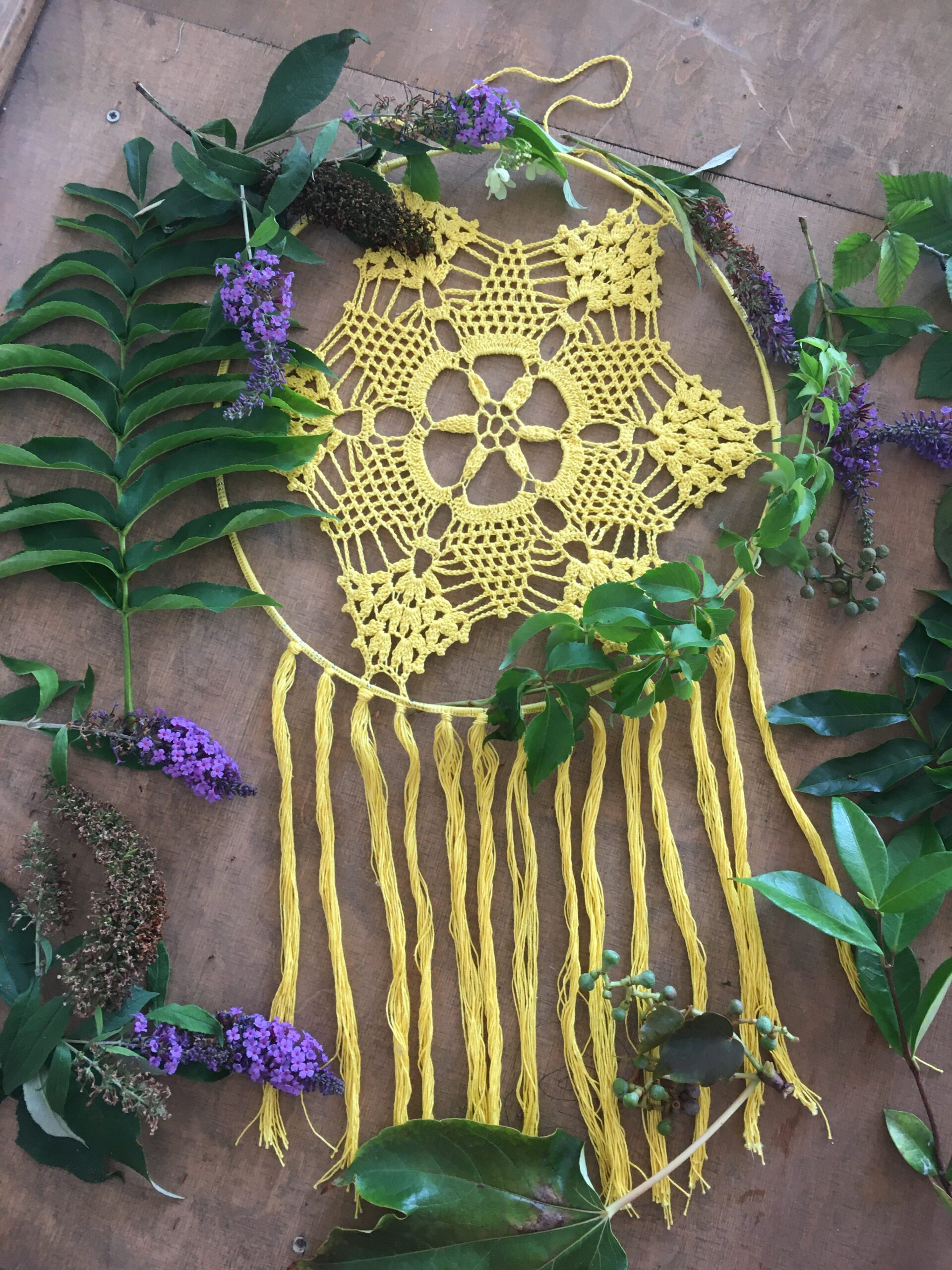 Crochet doily dreamcatcher with fringes. ANAVELLA